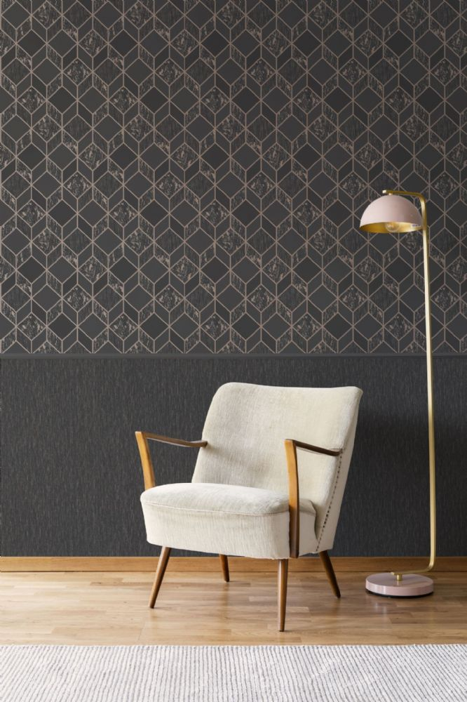 Graham and Brown Milan Vittorio Geo Charcoal & Rose  Gold 107963 Wallpaper